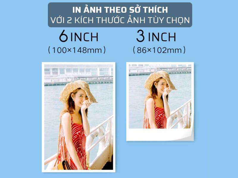 máy in ảnh xiaomi có 2 kích thước ảnh tùy theo sở thích