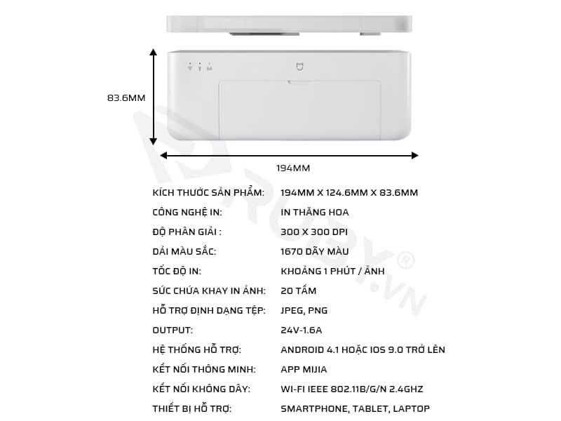 Thông số kỹ thuật của máy in ảnh xiaomi