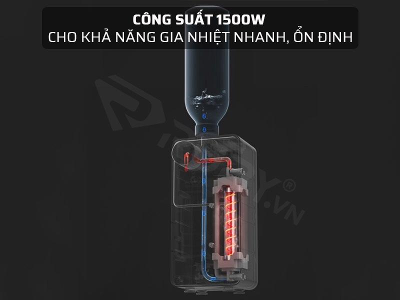 Công suất 1500W, cho khả năng gia nhiệt nhanh, ổn định