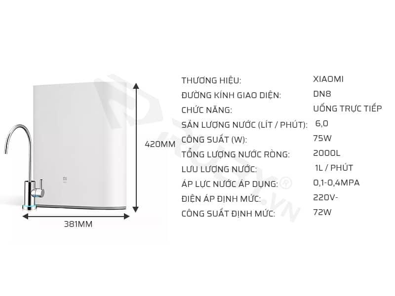Thông số kỹ thuật của máy lọc nước gia đình Xiaomi 1A 400G