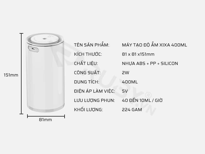Thông số kỹ thuật máy tạo độ ẩm Xixa 400ml
