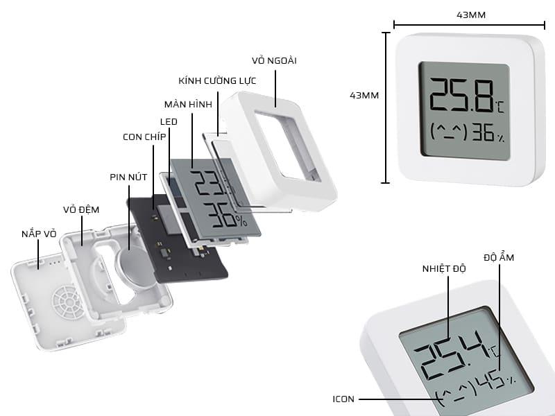 Cấu tạo chi tiết nhiệt ẩm kế điện tử Xiaomi Mijia Gen 2 LYWSD03MMC