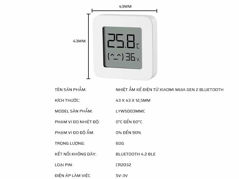 Thông số kỹ thuật nhiệt ẩm kế điện tử Xiaomi Mijia Gen 2 LYWSD03MMC