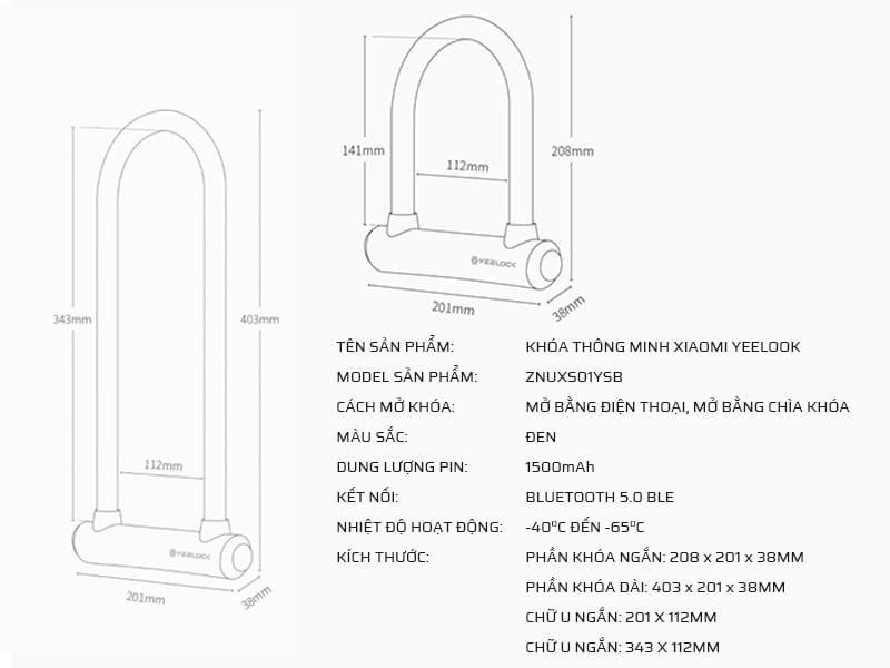Thông số kỹ thuật ổ khóa chống trộm thông minh Xiaomi Yeelook ZNUXS01YSB