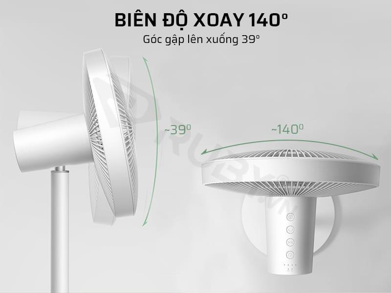 Quạt đứng Xiaomi có biên độ xoay 140 độ và góc gập lên xuống 39 độ