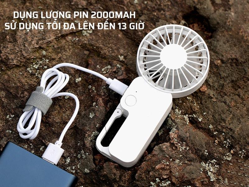Quạt sạc điện có dụng lượng pin 2000mAh