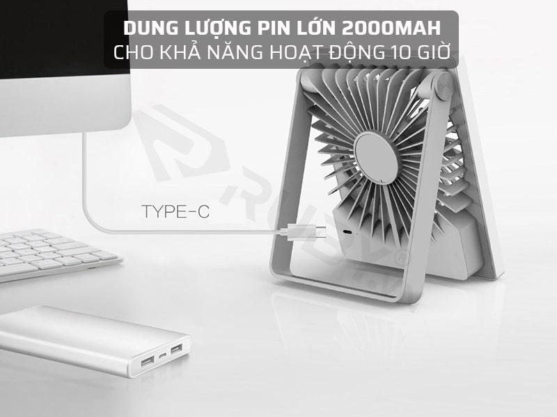 Dung lượng pin lớn 2000mAh, cho khả năng hoạt động 10 giờ