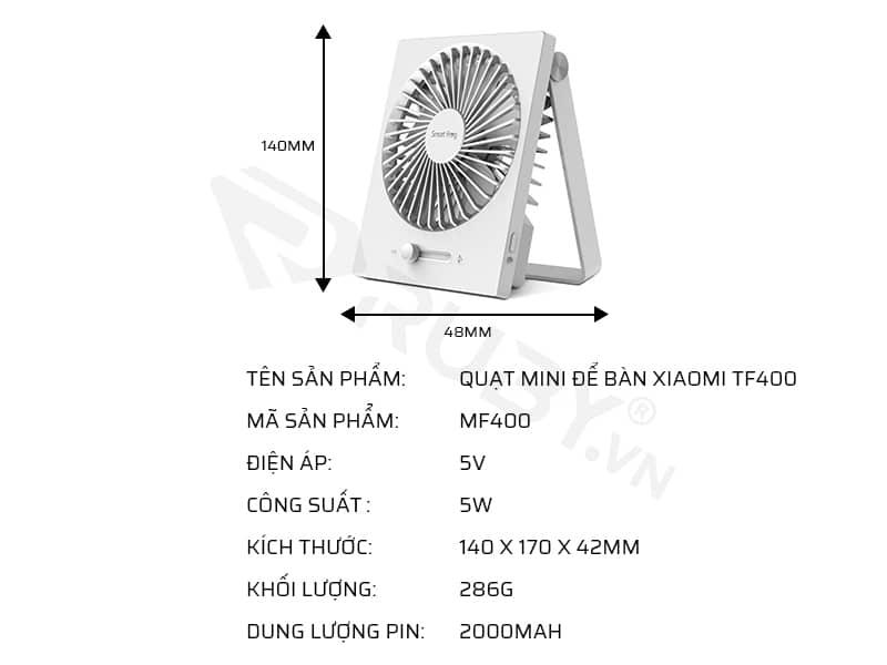 Thông số kỹ thuật quạt mini để bàn Xiaomi MF400