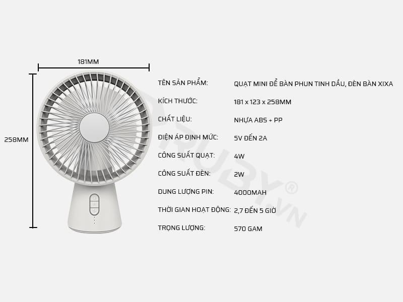 Thông số kỹ thuật quạt tích điện mini để bàn 3 trong 1 Xixa