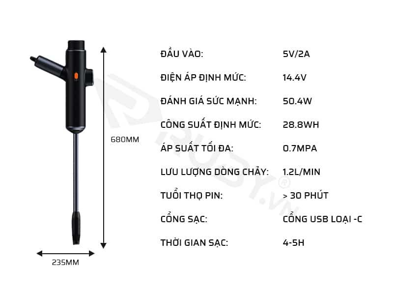 Thông số kỹ thuật súng rửa xe cao áp Baseus CRDDSQ-01