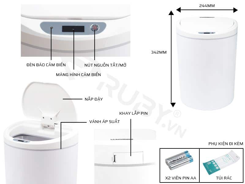 Cấu tạo chi tiết thùng rác thông minh cảm ứng Xiaomi Ninestars DZT-10-29S