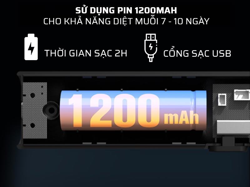 Vợt bắt muỗi cầm tay Xiaomi Sothing Swatter sừ dụng pin dung lượng lớn 1200mAh
