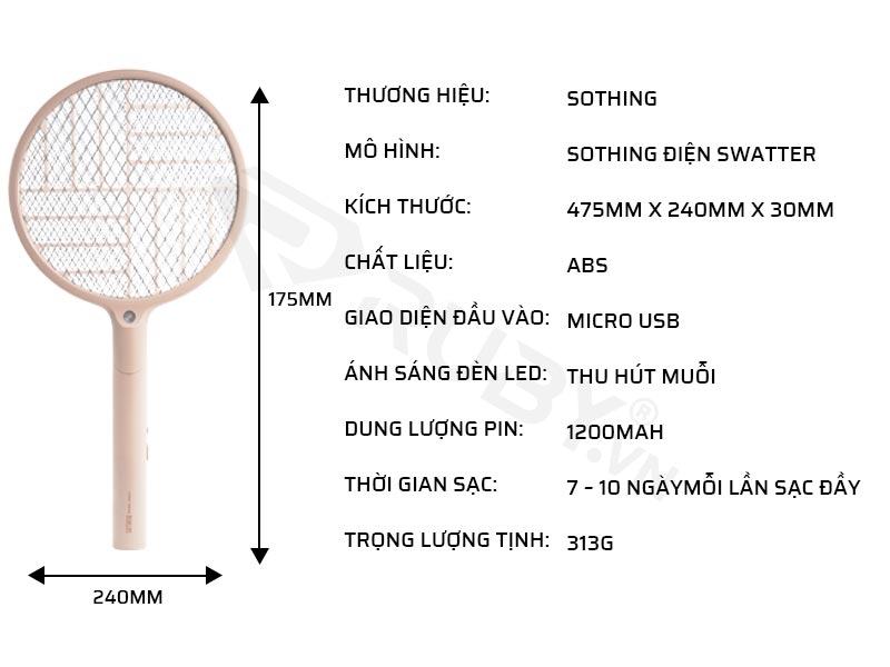 Thông số kỹ thuật của vợt bắt muỗi cầm tay Xiaomi Sothing Swatter