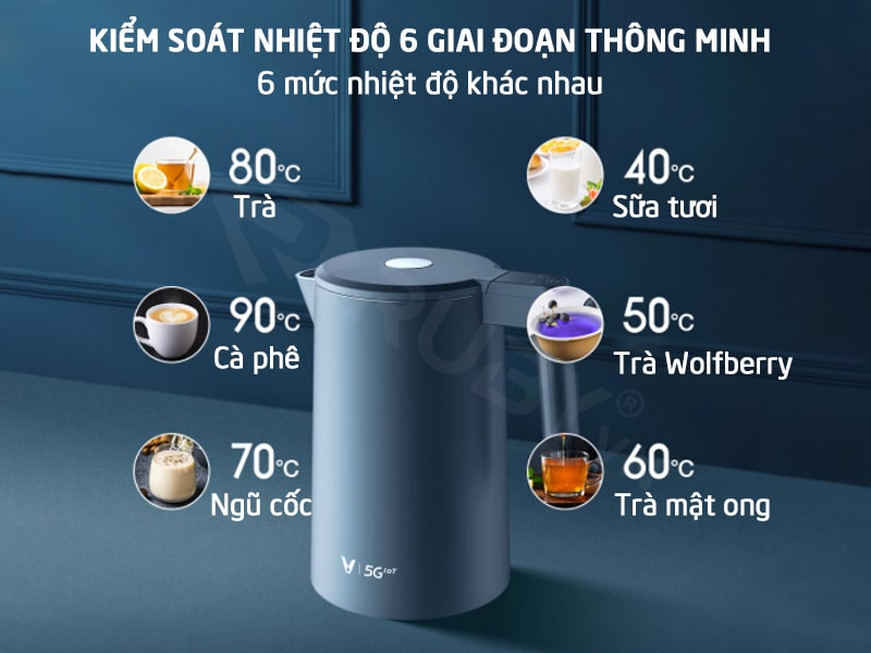 Kiểu soát 6 mức nhiệt độ với ấm đun siêu tốc Xiaomi