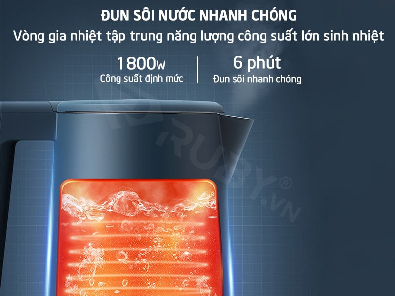 Bình siêu tốc có công suất 1800W đun sôi nhanh trong 6 phút
