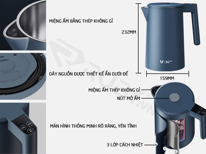 Cấu tạo chi tiết ấm đun nước điện điều nhiệt Xiaomi Viomi FACE YM-K1706