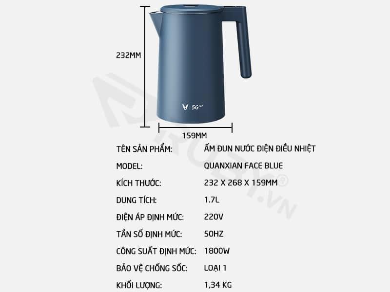 Thông số kỹ thuật ấm đun nước điện điều nhiệt Xiaomi Viomi FACE YM-K1706
