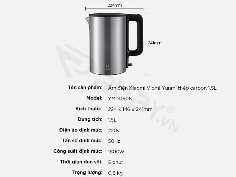 Thông số kỹ thuật ấm siêu tốc Xiaomi Viomi Yunmi YM-K1506 1.5L