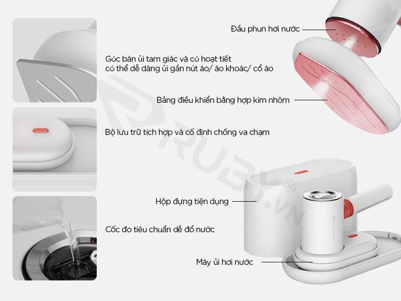 Cấu tạo Bàn ủi hơi nước cầm tay 2 trong 1 Xiaomi Deerma DEM-HS200