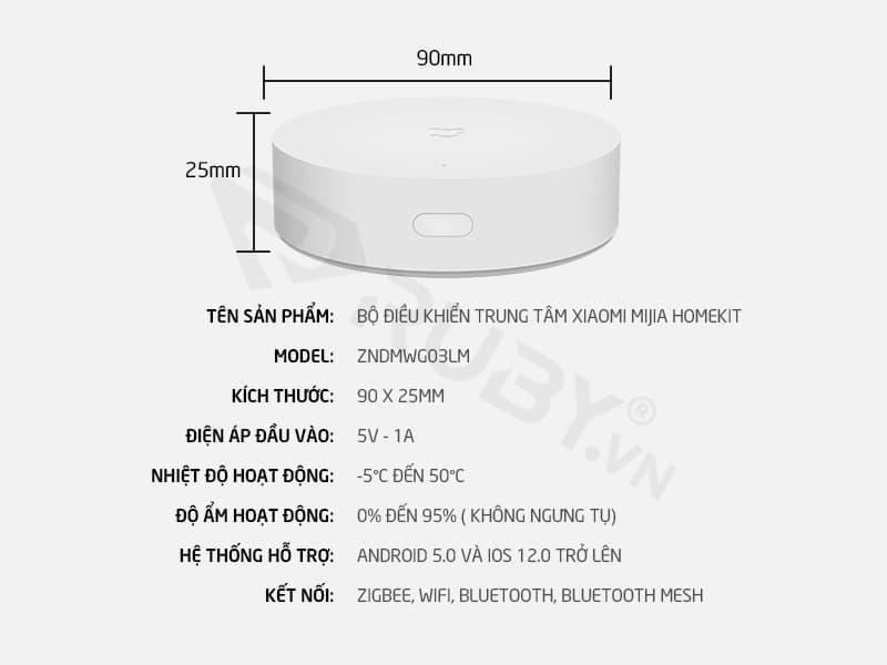 Thông số kỹ thuật Bộ điều khiển trung tâm Xiaomi Mijia Homekit ZNDMWG03LM