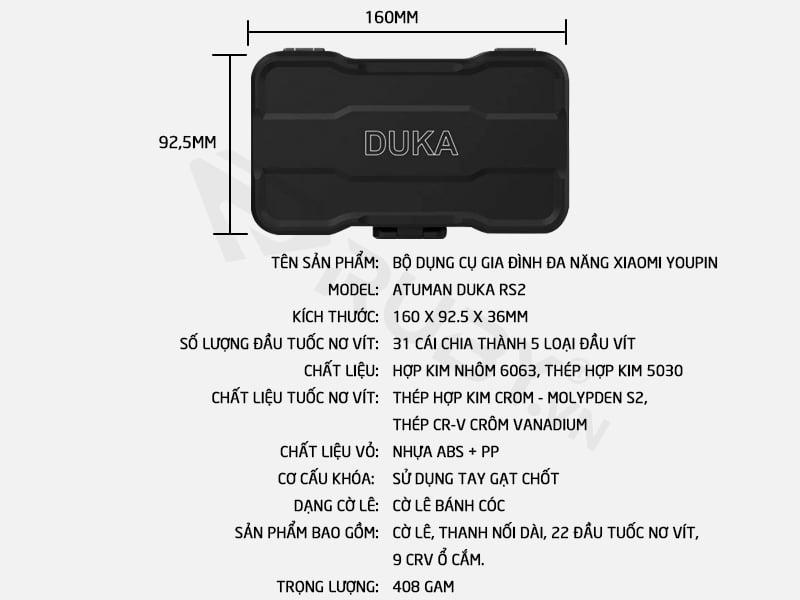 Thông số kỹ thuật Bộ dụng cụ gia đình đa năng Xiaomi Duka RS2