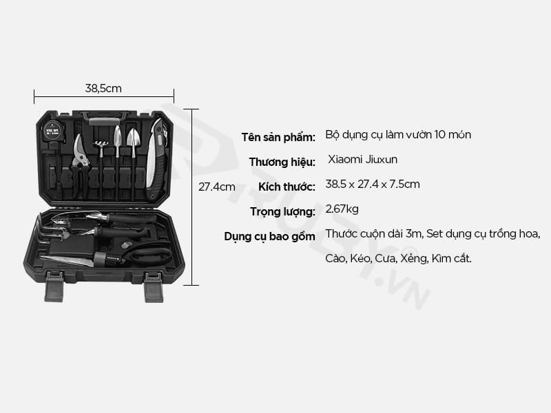 Thông số kỹ thuật bộ dụng cụ làm vườn 10 in 1 Xiaomi Jiuxun Tools