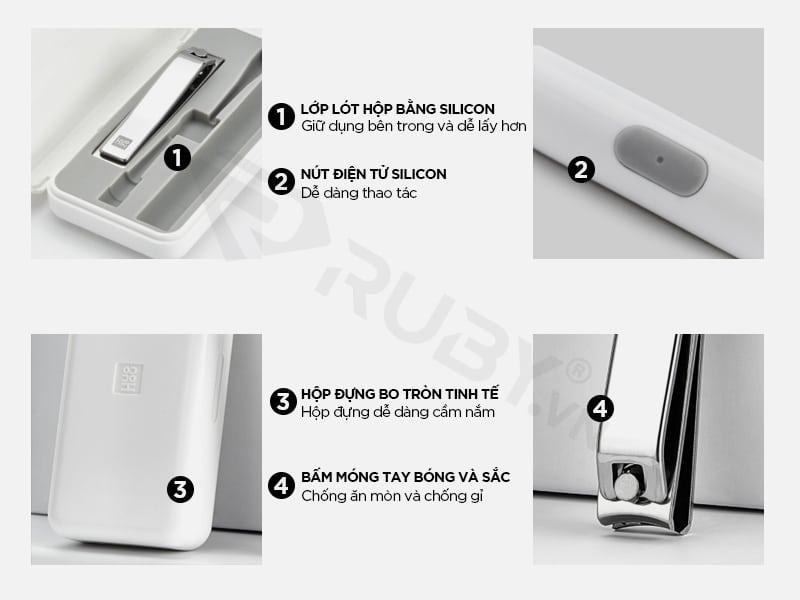 Cấu tạo chi tiết bộ lấy ráy tai có đèn kiêm bấm móng 2in1 Xiaomi Huohou