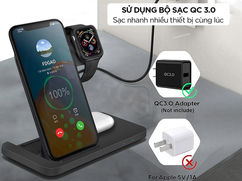 Sạc nhanh không dây sử dụng QC 3.0