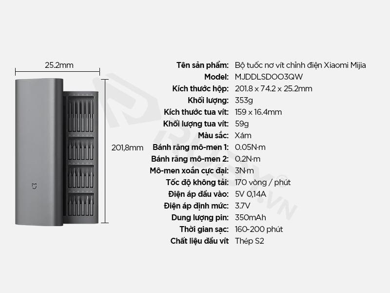 Thông số kỹ thuật bộ tuốc nơ vít điện từ tính Xiaomi Mijia MJDDLSDOO3QW
