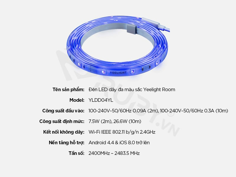 Thông số kỹ thuật Đèn LED dây đa màu sắc Yeelight Room YLDD04YL
