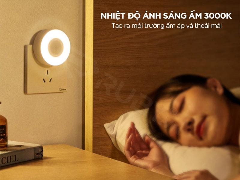đèn ngủ cảm biến ánh sáng có nhiệt độ ánh sáng ấm 3000K