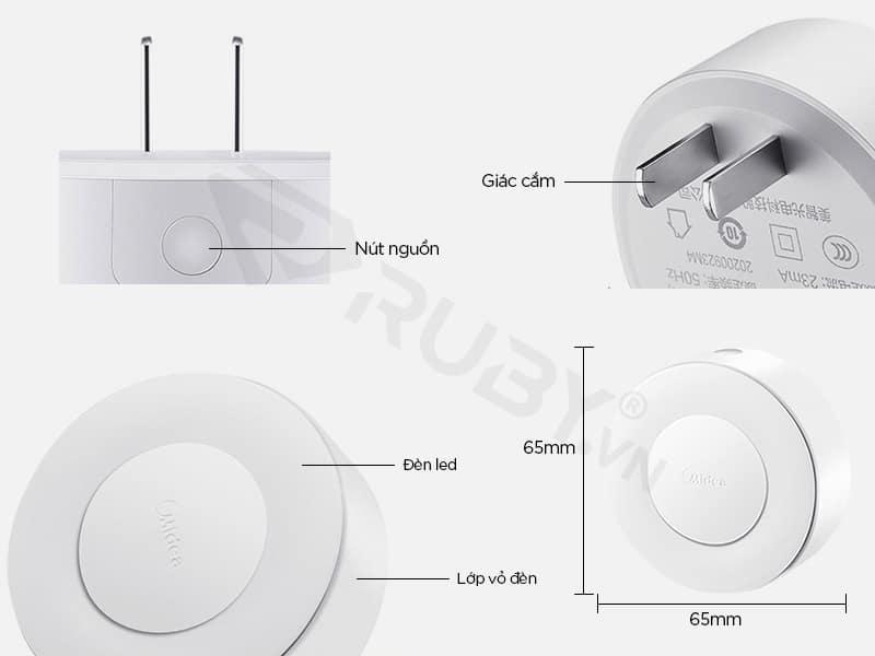 Cấu tạo chi tiết đèn ngủ cảm biến Xiaomi Midea 3000K