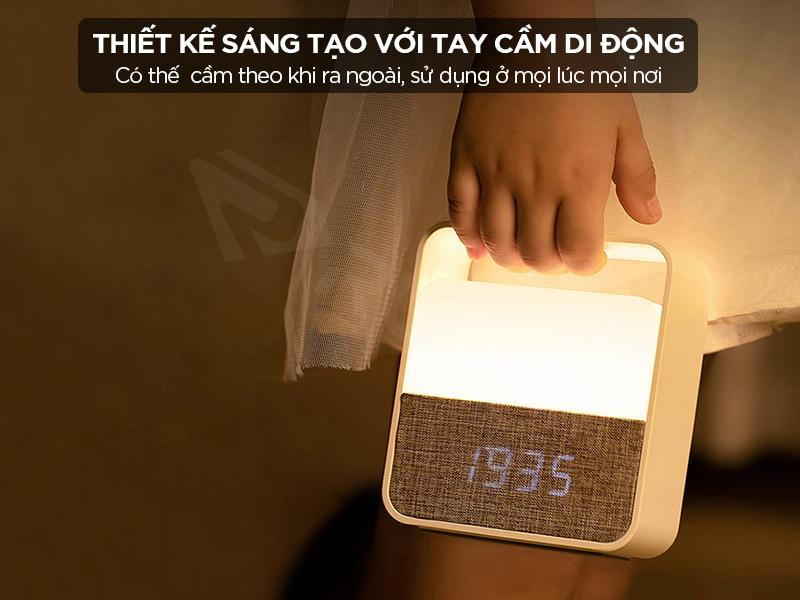 Đồng hồ đèn ngủ Xiaomi có thiết kế tay cầm gọn đẹp di động