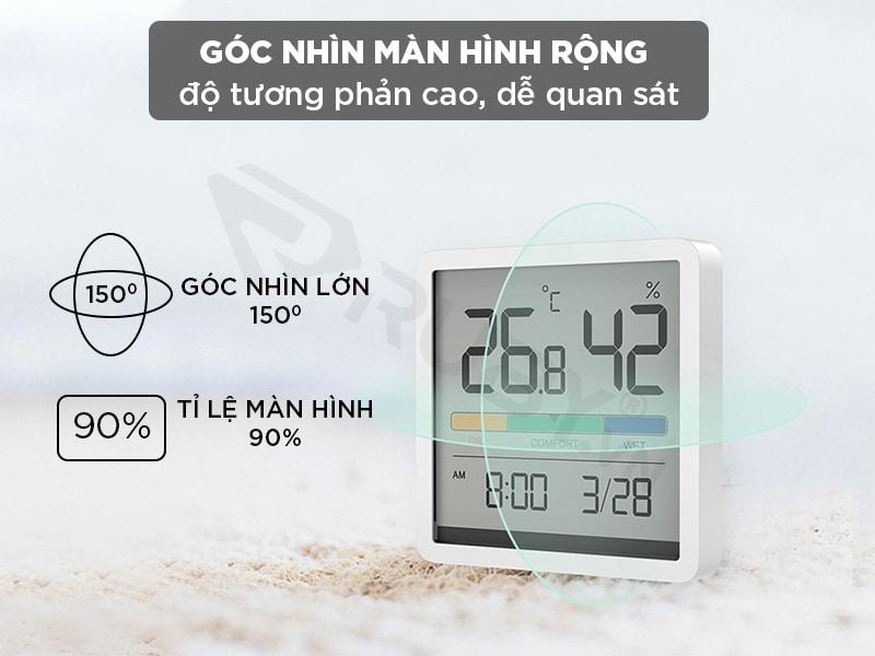 Góc màn hình nhiệt ẩm kế rộng độ tương phẩn cao, dễ quan sát