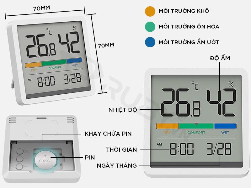 Cấu tạo chi tiết Đồng hồ nhiệt ẩm kế Xiaomi Miiiw Mute NK5253