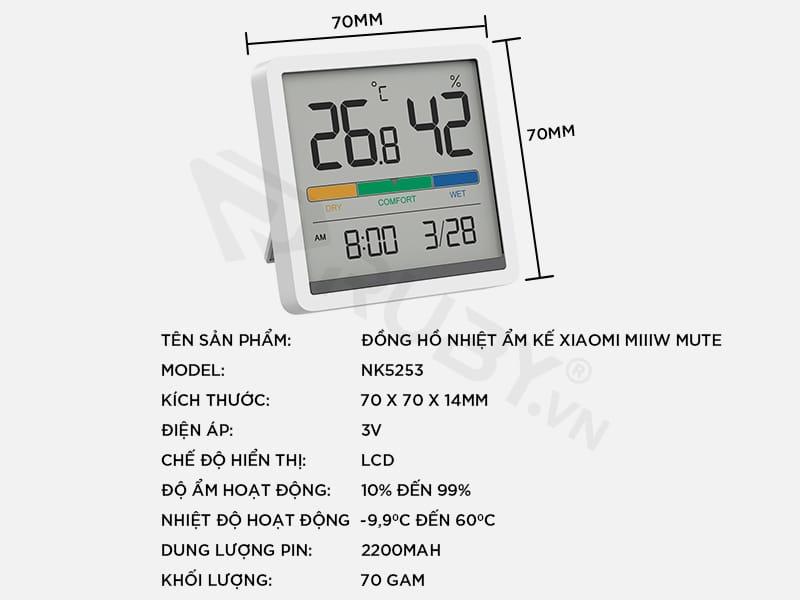 Thông số kỹ thuật đồng hồ nhiệt ẩm kế Xiaomi Miiiw Mute NK5253