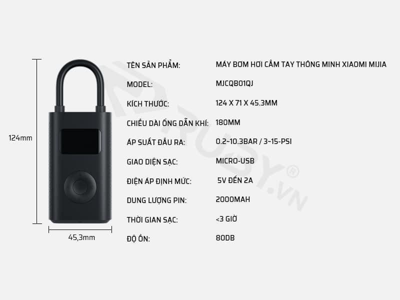 Thông số kỹ thuât máy bơm hơi cầm tay thông minh Xiaomi Mijia MJCQB01QJ