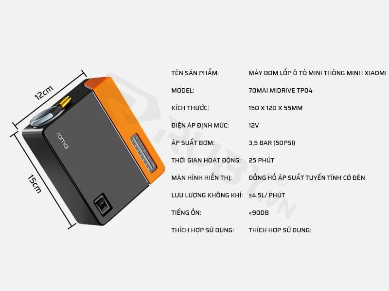Thông số kỹ thuật máy bơm lốp ô tô mini thông minh Xiaomi 70MAI Midrive TP04