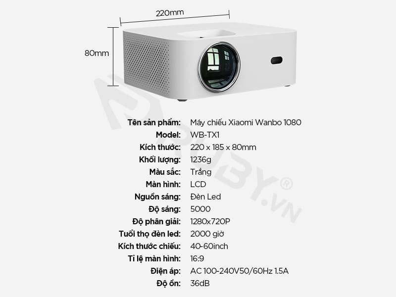 Thông số kỹ thuật Máy chiếu Xiaomi Wanbo WB-TX1