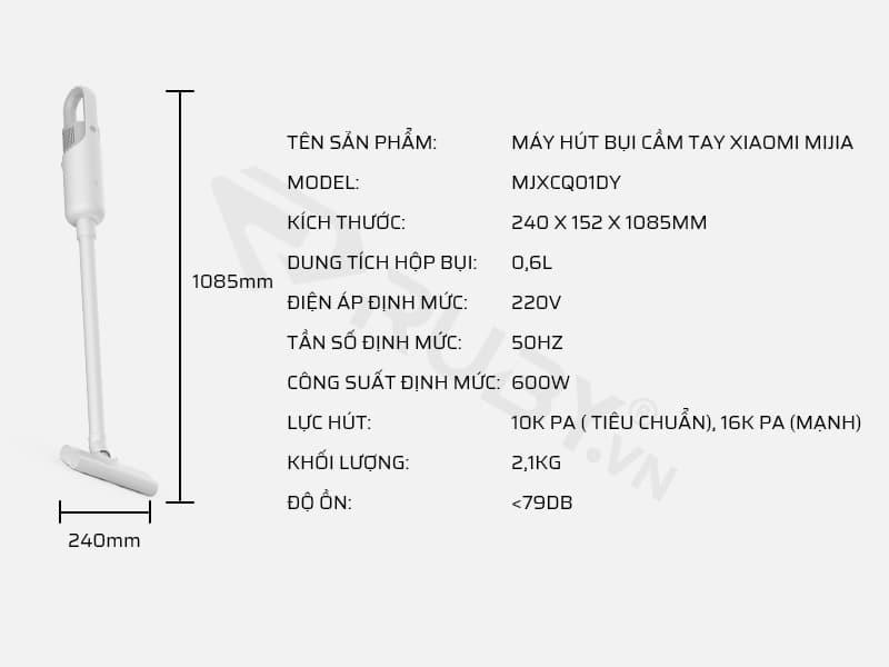 Thông số kỹ thuật máy hút bụi cầm tay Xiaomi Mijia MJXCQ01DY