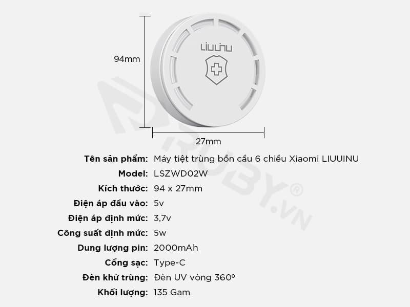 Thông số kỹ thuật máy khử trùng bồn cầu 6 chiều Xiaomi LIUUINU LSZWD02W