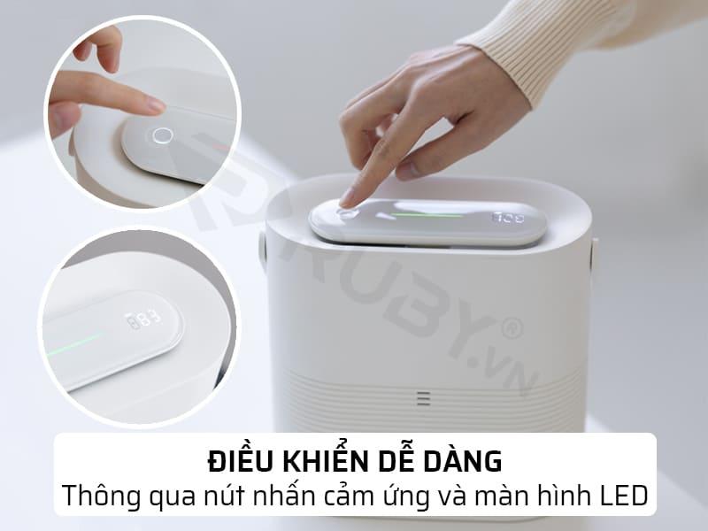 Điều khiển dễ dàng thông qua nút nhấn cảm ứng và màn hình LED