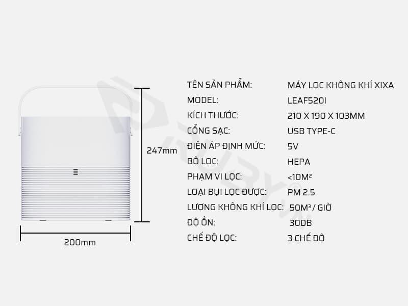 Thông số kỹ thuật máy lọc không khí Xixa LEAF520i