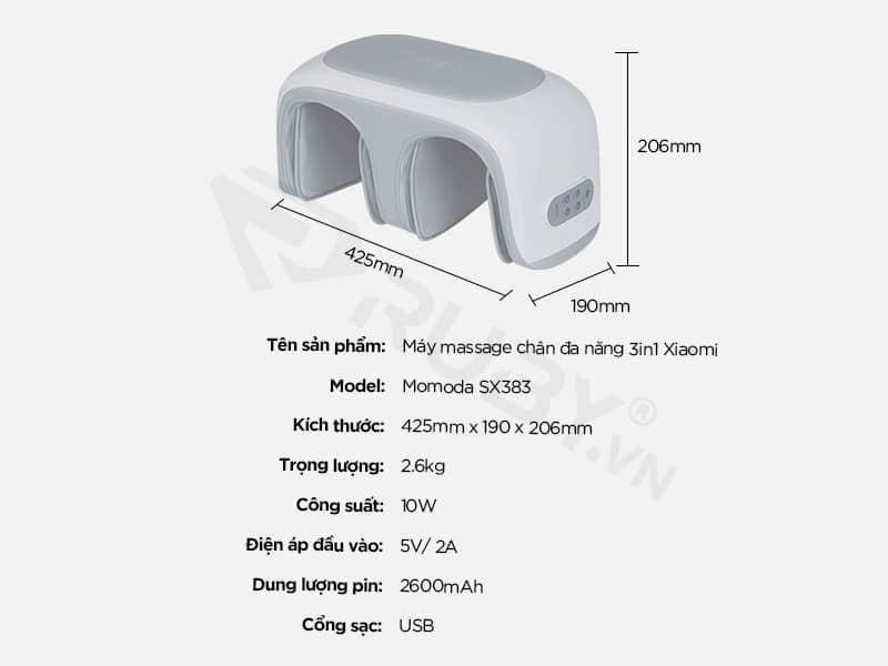 Thông số kỹ thuật máy massage chân đa năng 3in1 Xiaomi Momoda SX383