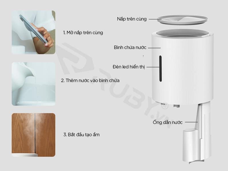 Cấu tạo chi tiết Máy tạo ẩm khuếch tán tinh dầu Xiaomi Deerma SJS-600