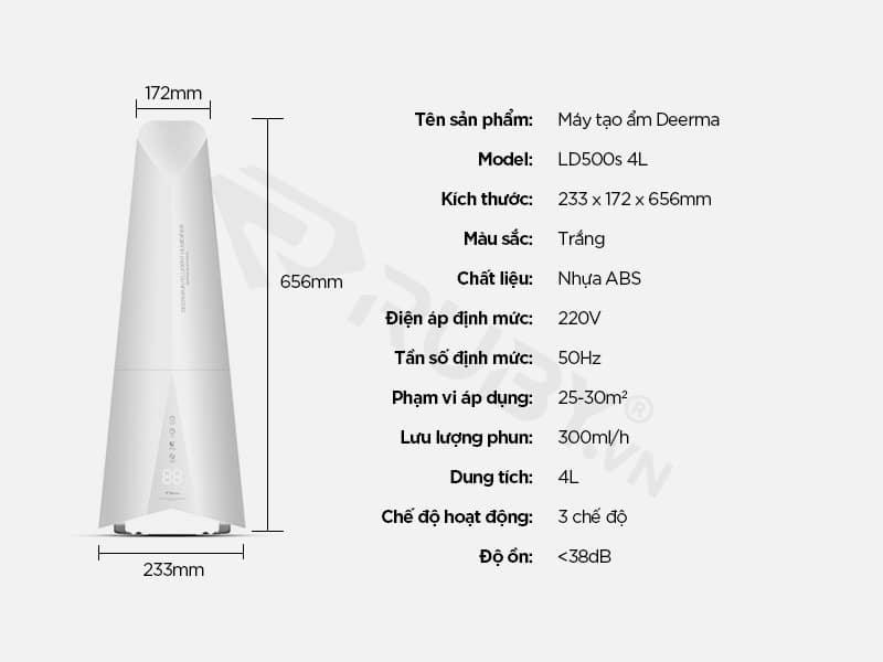 Thông số kỹ thuật Máy tạo độ ẩm không khí Xiaomi Deerma LD500s