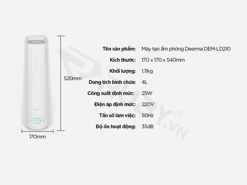 Thông số kỹ thuật máy tạo độ ẩm trong phòng Xiaomi Deerma DEM-LD210