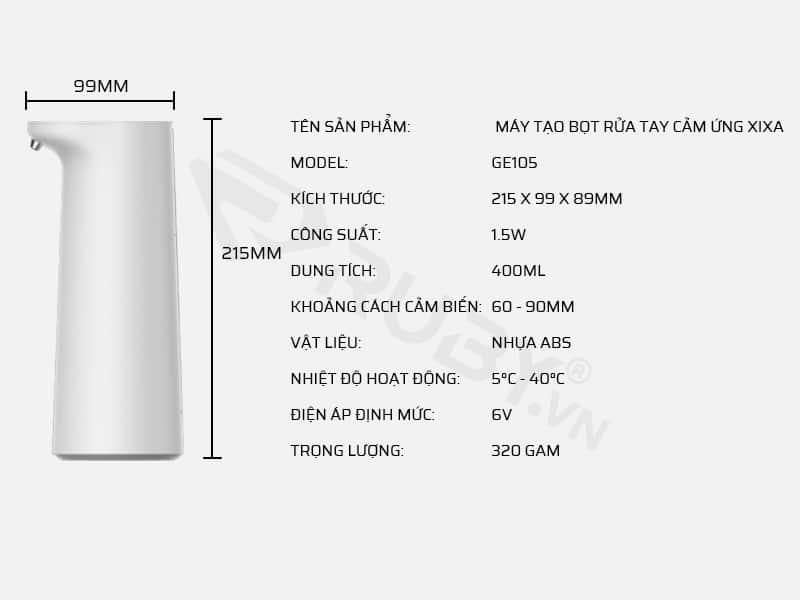 Thông số kỹ thuật máy tạo bọt rửa tay cảm ứng Xixa GE105