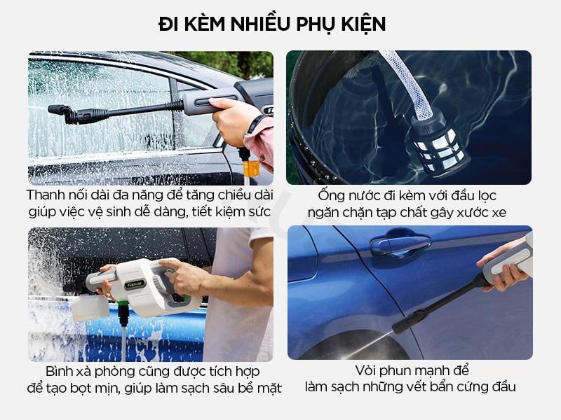 Súng rửa xe cao áp đi kèm nhiều phụ kiện