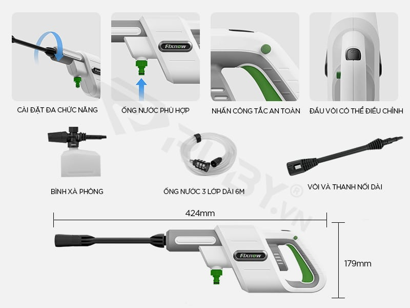 Cấu tạo chi tiết súng rửa xe áp lực cao Xiaomi Fixnow XYQX-300E